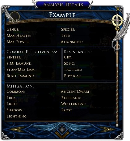 This Analysis box pops up after using Knowledge of the Lore-master on an enemy target. The result will show the relative difficulty of the creature for your Lore-master.
