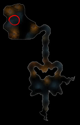 The red circle indicates where to use the quest item.