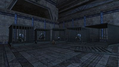 Auroch cages in a corner of The Great Hall