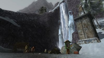 Half-frozen falls at the dwarf camp