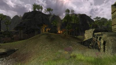 The small orc encampment inside the ruins
