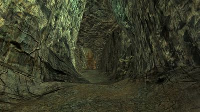 The passage to the hidden vale that the mining outpost lies in