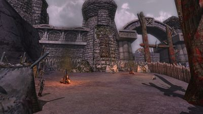 The western orc camp makes use of Fornost's walls to provide fortification