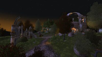 Beautiful twilight over the elven ruins