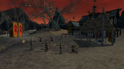 Training dummies and an altar in the southern half of town