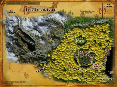 Topographic map of Lothlórien