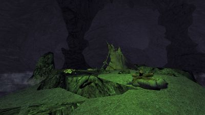 Gollum's empty camp on the isle in the cavern
