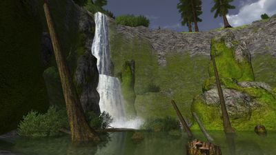 The waterfall at Rushingdale which conceals the enchanted hall of Gwindeth