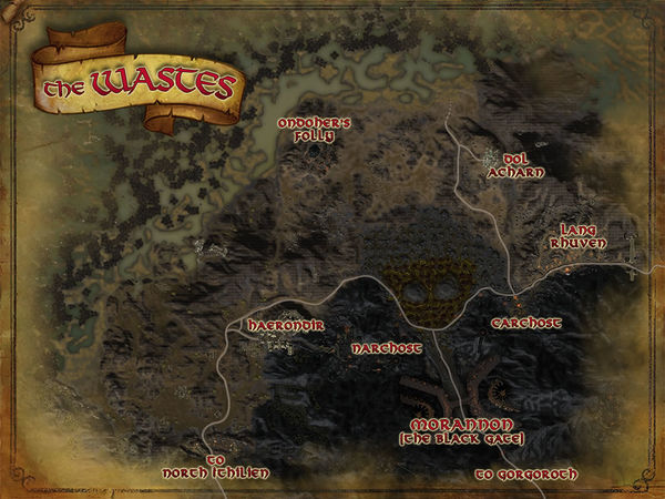 Map of the Wastes and part of Cirith Gorgor