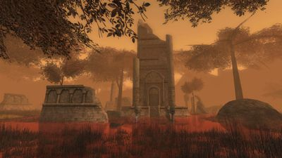 Ruined tower in the red swamp