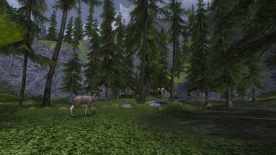 Snowy glade with a herd of moose on the Forochel border