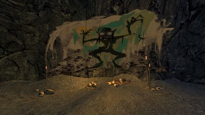 A drawing on the wall in the long narrow hallway before entering Gollum's Cave
