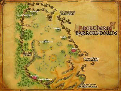 Map of Northern Barrow-downs Named Creatures and Locations