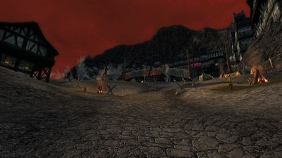 Crude barricades and camps line the path to the orc portion of the town