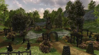 The beautiful garden around the Bounder's Bounty Leaderboard