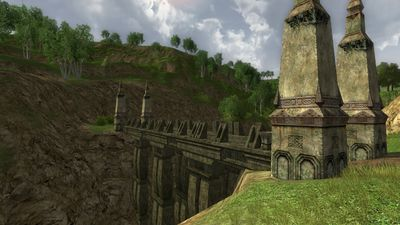Dwarven bridge out of Needlehole leading to Ered Luin