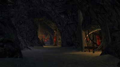 One of the many tall tunnels connecting the larger chambers of Goblin-town