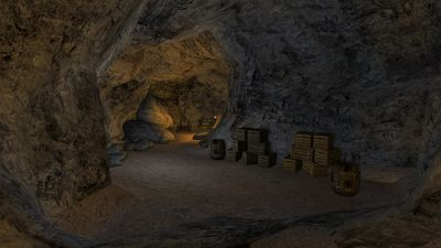 Crates in a tunnel of the Brigand Cave