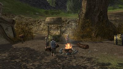 Hobbits discussing their steps forward by a fire