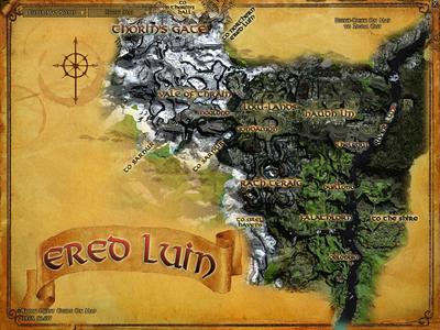 Topographic map of Ered Luin
