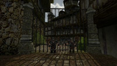 Dwarves guarding a gate in the Stone Quarter