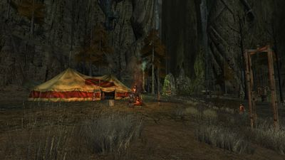 One of several command tents set up by the hillmen