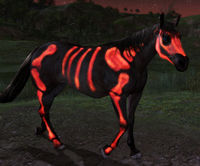Image of Red Painted Skeleton Horse