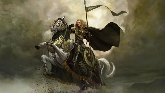 Concept art showing a female Rohirrim on a prancing white, armoured Mearas steed.