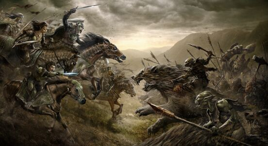 Concept art of a battle scene with the Rohirrim (plus a hobbit and an elf) to the left and orcs riding wargs on the right, riding into each other.