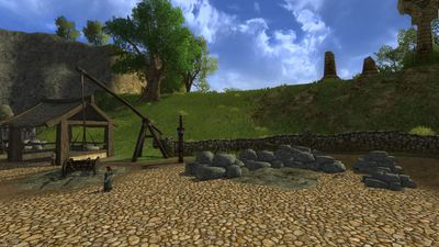 Stone stockpiles can be found throughout the town