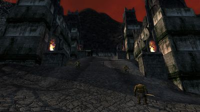 Braziers line the path in the orc district