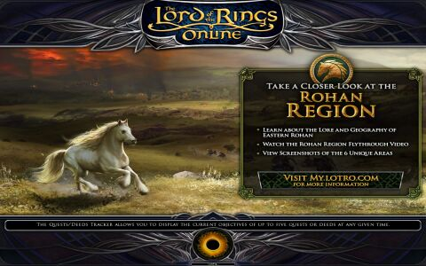 A loading screen showing the LOTRO logo, concept art of a white Mearas steed and advertisement text promoting the (back then) upcoming expansion.