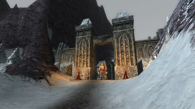 The south gate, guard by a giant among dwarves