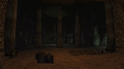 Large, dark chamber littered with many pillars