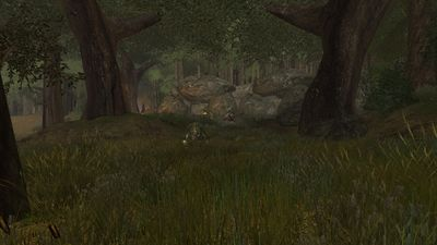 Thick forests surround a troll cave in eastern Harloeg