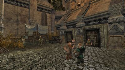 Rangers and dwarves in the central courtyard