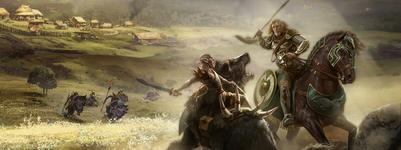 Concept art showing a warg rider and a male Rohirrim rider in mounted combat on the Rohirric plains. In the background a village is seen, as well as more warg riders charging in.