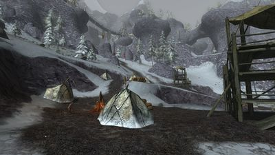 Tents within the goblin camp of Ghâshru