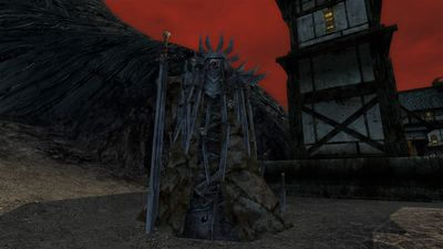 An idol to the Witch-king just outside of the town